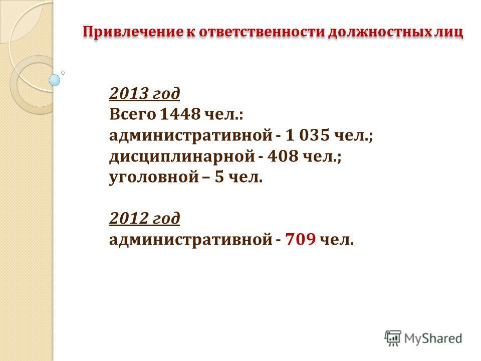 Привлечение к ответственности должностных лиц 2013 год Всего 1448 чел.: административной - 1 035 чел.; дисциплинарной - 408 чел.; уголовной – 5 чел. 2012 год административной - 709 чел.