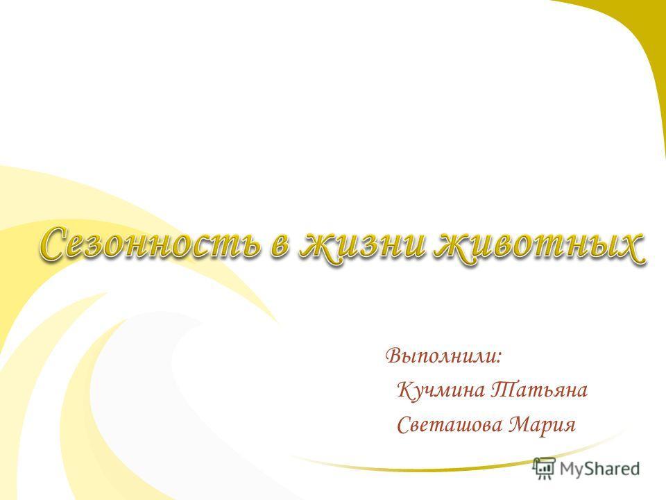 Выполнили: Кучмина Татьяна Светашова Мария