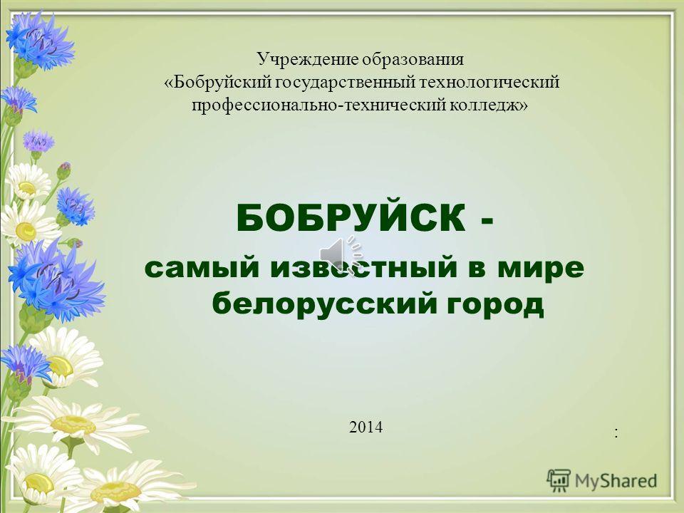 БОБРУЙСК - самый известный в мире белорусский город : Учреждение образования «Бобруйский государственный технологический профессионально-технический колледж» 2014