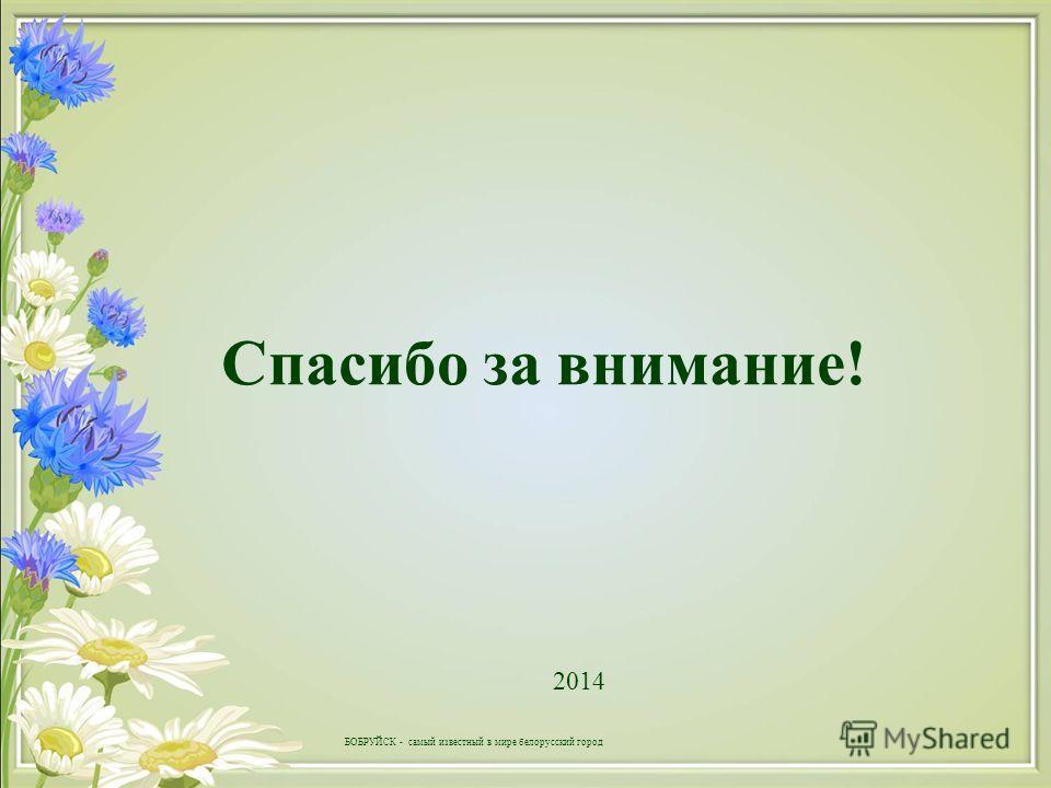 Спасибо за внимание! 2014 БОБРУЙСК - самый известный в мире белорусский город