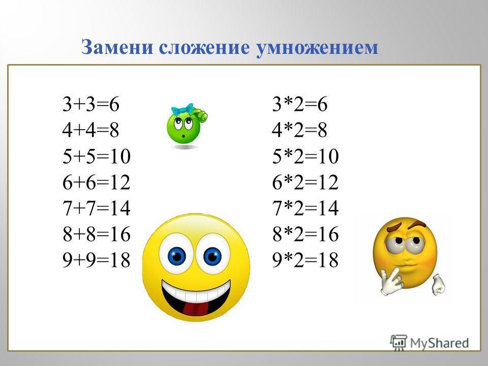 3+3=6 4+4=8 5+5=10 6+6=12 7+7=14 8+8=16 9+9=18 3*2=6 4*2=8 5*2=10 6*2=12 7*2=14 8*2=16 9*2=18 Замени сложение умножением