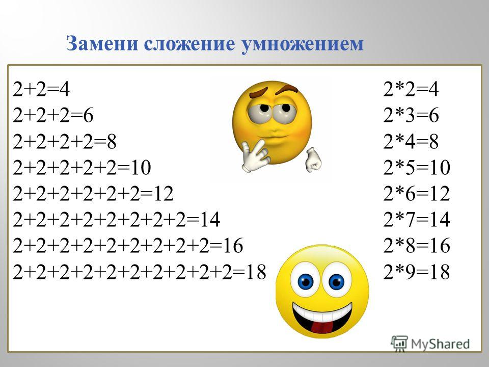 2+2=4 2+2+2=6 2+2+2+2=8 2+2+2+2+2=10 2+2+2+2+2+2=12 2+2+2+2+2+2+2+2=14 2+2+2+2+2+2+2+2+2=16 2+2+2+2+2+2+2+2+2+2=18 2*2=4 2*3=6 2*4=8 2*5=10 2*6=12 2*7=14 2*8=16 2*9=18 Замени сложение умножением