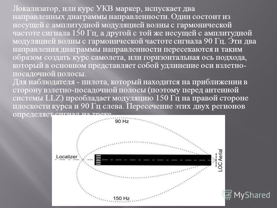 Локализатор, или курс УКВ маркер, испускает два направленных диаграммы направленности. Один состоит из несущей с амплитудной модуляцией волны с гармонической частоте сигнала 150 Гц, а другой с той же несущей с амплитудной модуляцией волны с гармониче