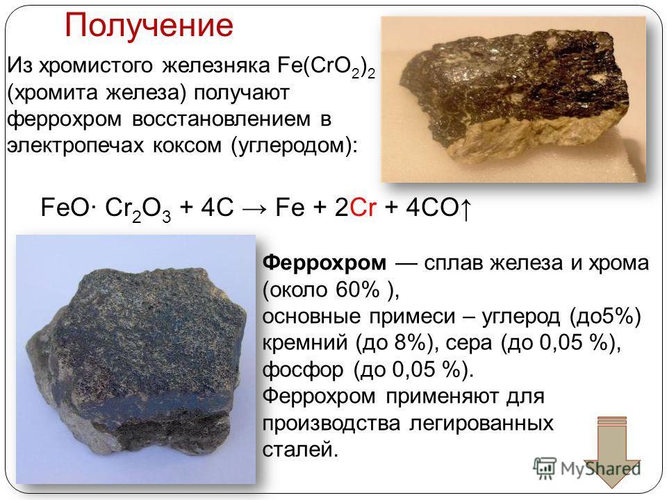 Получение Из хромистого железняка Fe(CrO 2 ) 2 (хромита железа) получают феррохром восстановлением в электропечах коксом (углеродом): FeO· Cr 2 O 3 + 4C Fe + 2Cr + 4CO Феррохром сплав железа и хрома (около 60% ), основные примеси – углерод (до 5%) кр