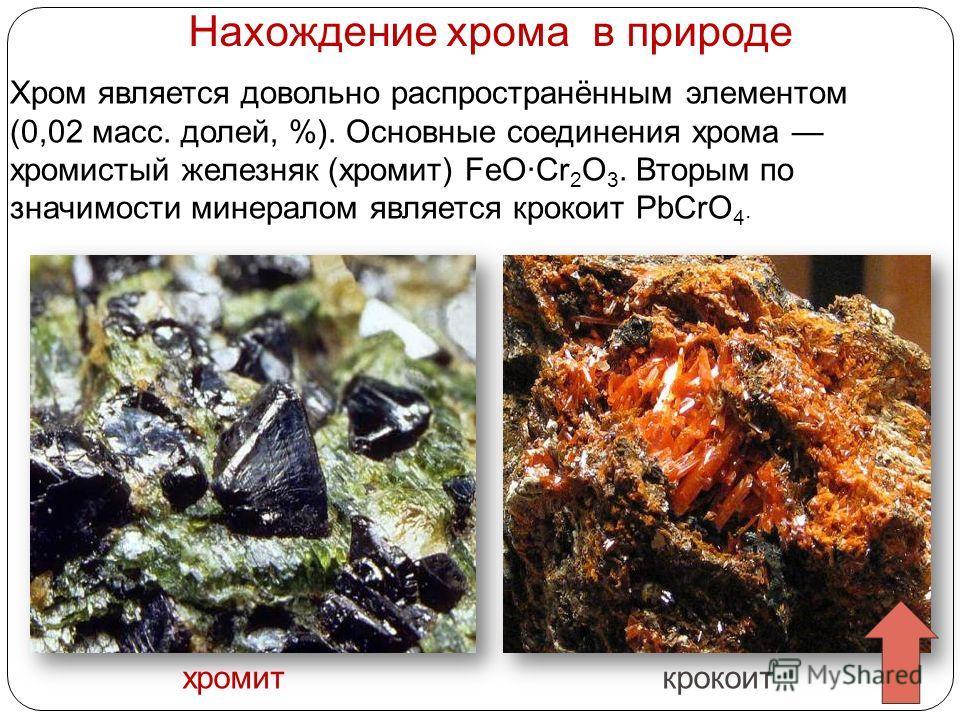 Нахождение хрома в природе Хром является довольно распространённым элементом (0,02 масс. долей, %). Основные соединения хрома хромистый железняк (хромит) FeO·Cr 2 O 3. Вторым по значимости минералом является крокоит PbCrO 4. хромиткрокоит
