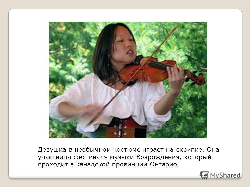 Девушка в необычном костюме играет на скрипке. Она участница фестиваля музыки Возрождения, который проходит в канадской провинции Онтарио.