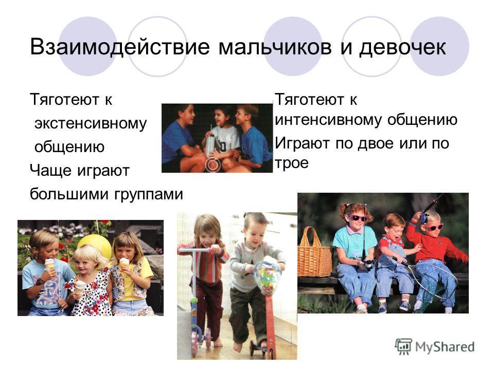 Взаимодействие мальчиков и девочек Тяготеют к экстенсивному общению Чаще играют большими группами Тяготеют к интенсивному общению Играют по двое или по трое