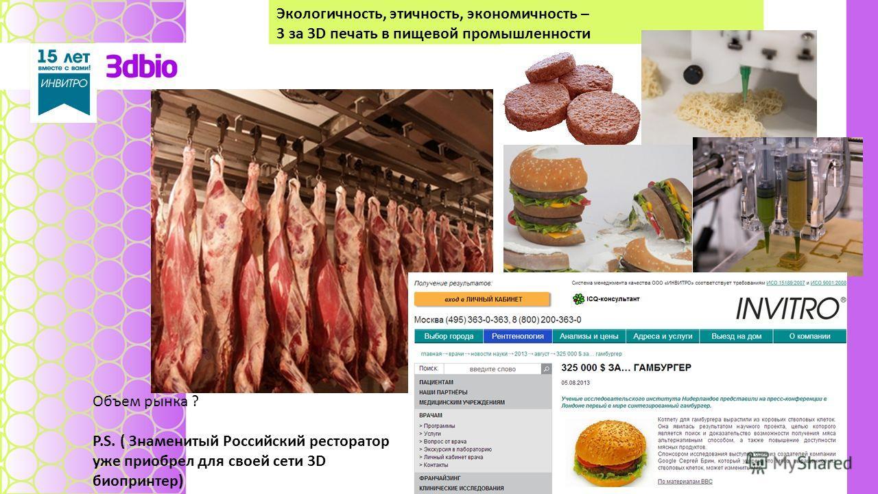 Экологичность, этичность, экономичность – 3 за 3D печать в пищевой промышленности Объем рынка ? P.S. ( Знаменитый Российский ресторатор уже приобрел д