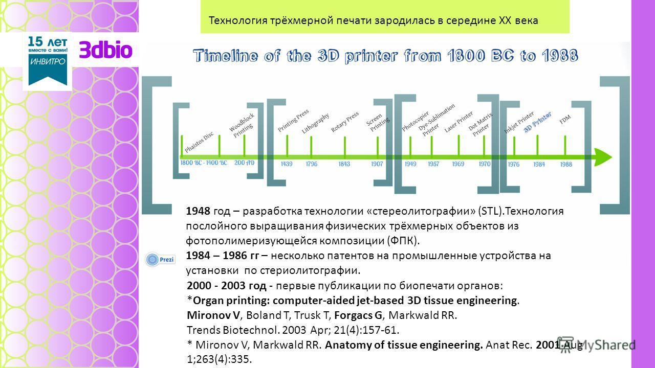 Технология трёхмерной печати зародилась в середине ХХ века 1948 год – разработка технологии «стереолитографии» (STL).Технология послойного выращивания