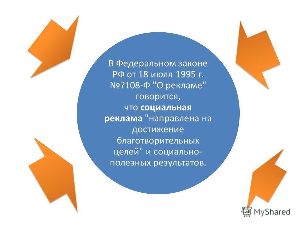 В Федеральном законе РФ от 18 июля 1995 г. ?108-Ф О рекламе говорится, что социальная реклама направлена на достижение благотворительных целей и социально- полезных результатов.