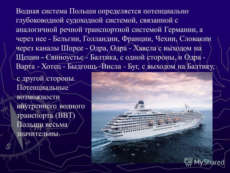 Водная система Польши определяется потенциально глубоководной судоходной системой, связанной с аналогичной речной транспортной системой Германии, а через нее - Бельгии, Голландии, Франции, Чехии, Словакии через каналы Шпрее - Одра, Одра - Хавела с вы