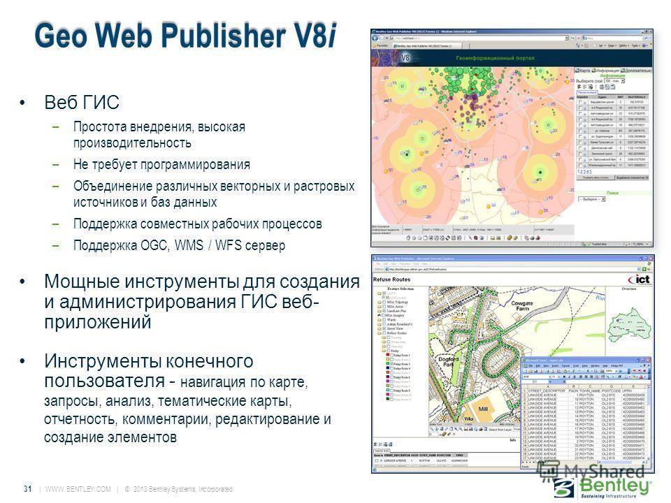 31 | WWW.BENTLEY.COM | © 2013 Bentley Systems, Incorporated Geo Web Publisher V8 i Веб ГИС –Простота внедрения, высокая производительность –Не требует программирования –Объединение различных векторных и растровых источников и баз данных –Поддержка со