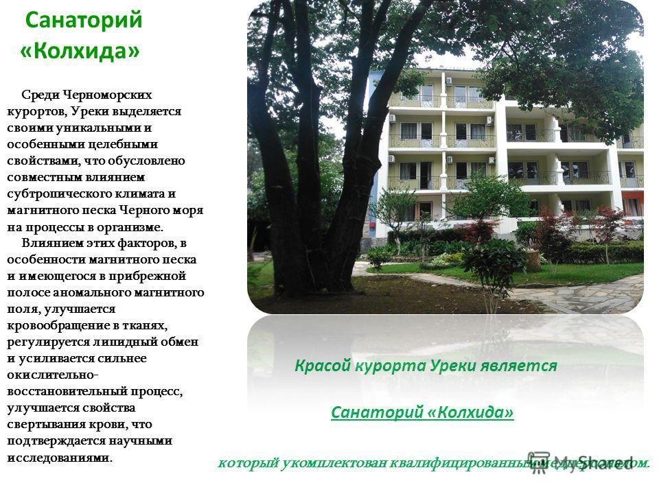 Среди Черноморских курортов, Уреки выделяется своими уникальными и особенными целебными свойствами, что обусловлено совместным влиянием субтропического климата и магнитного песка Черного моря на процессы в организме. Влиянием этих факторов, в особенн