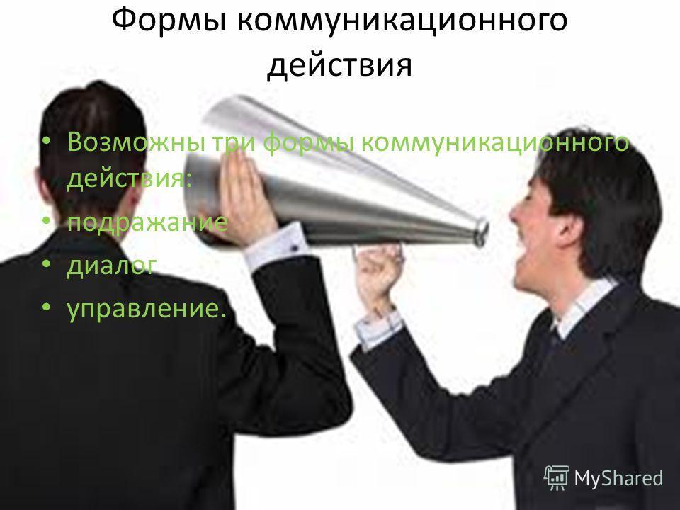 Формы коммуникационного действия Возможны три формы коммуникационного действия: подражание диалог управление.