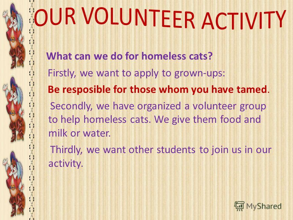 What can we do for homeless cats? Firstly, we want to apply to grown-ups: Be resposible for those whom you have tamed. Secondly, we have organized a volunteer group to help homeless cats. We give them food and milk or water. Thirdly, we want other st