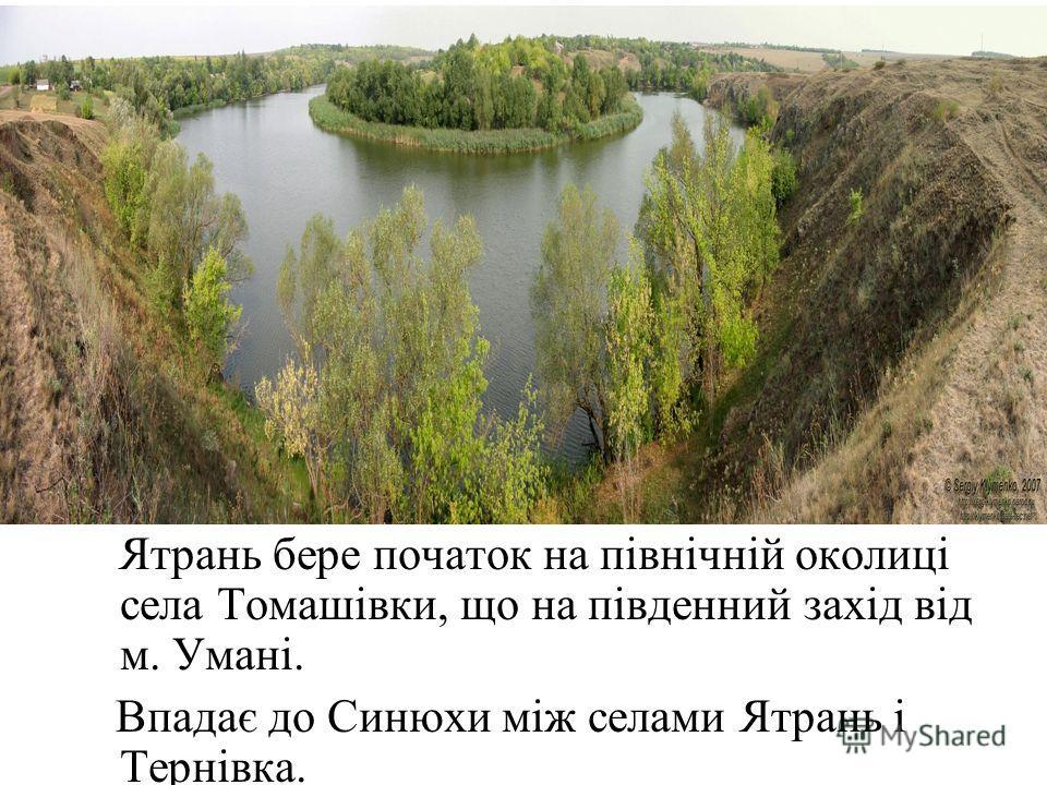 Ятрань бере початок на північній околиці села Томашівки, що на південний захід від м. Умані. Впадає до Синюхи між селами Ятрань і Тернівка.