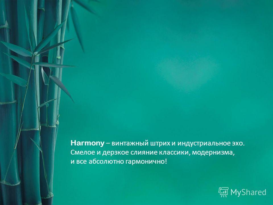 Harmony – винтажный штрих и индустриальное эхо. Смелое и дерзкое слияние классики, модернизма, и все абсолютно гармонично!