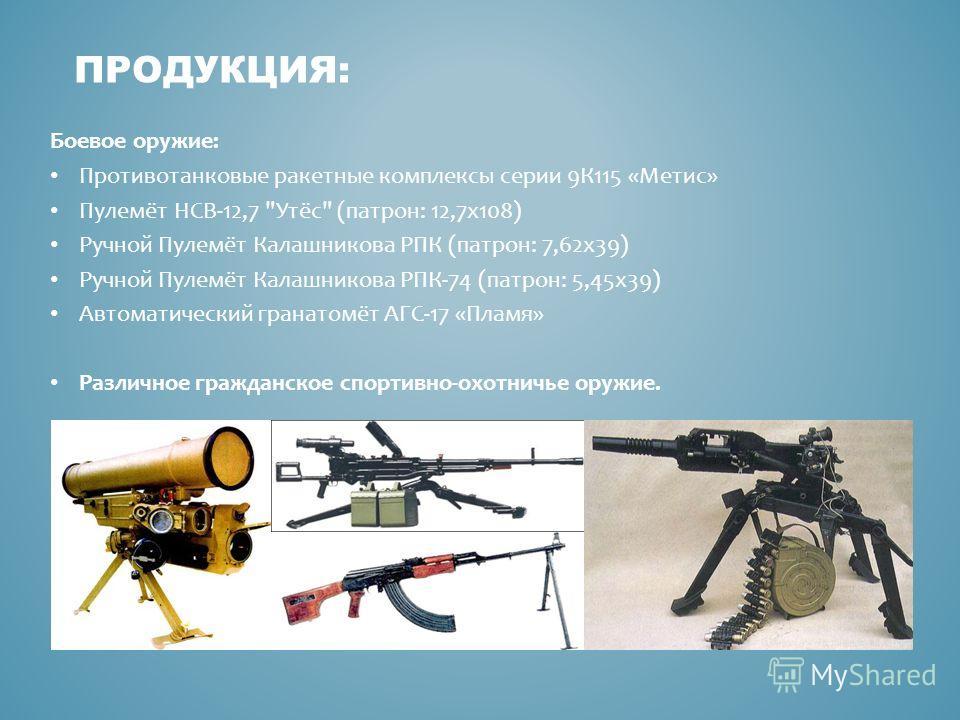 Боевое оружие: Противотанковые ракетные комплексы серии 9К115 «Метис» Пулемёт НСВ-12,7