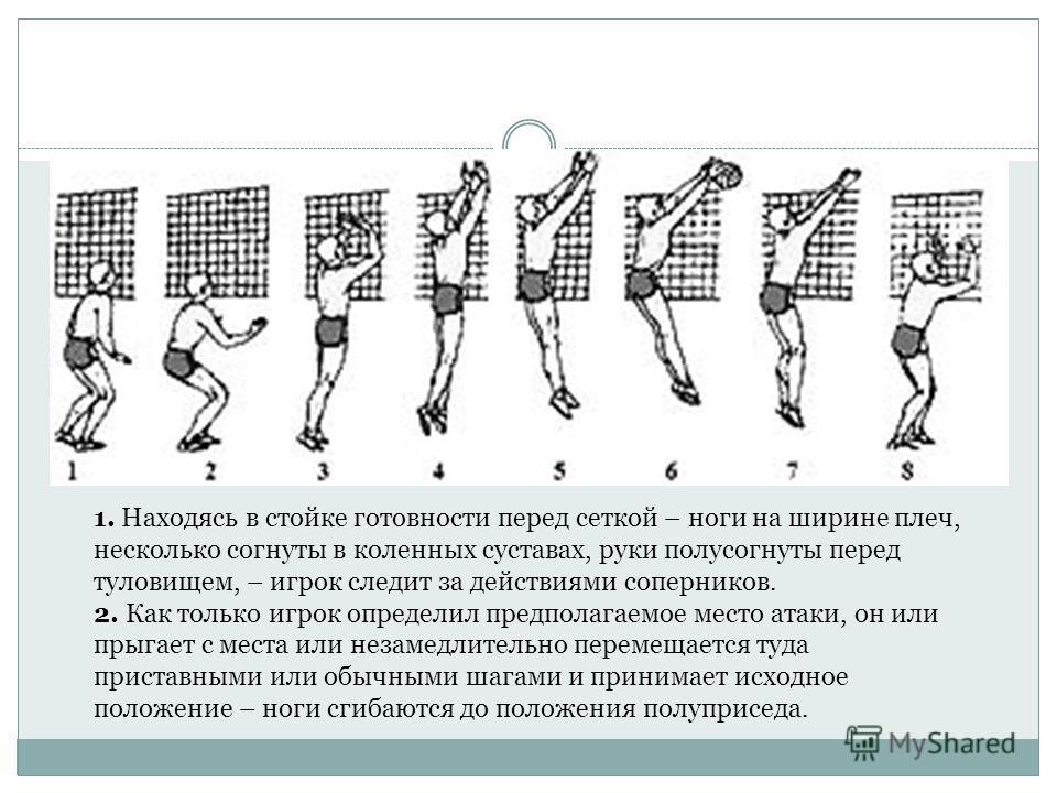 1. Находясь в стойке готовности перед сеткой – ноги на ширине плеч, несколько согнуты в коленных суставах, руки полусогнуты перед туловищем, – игрок следит за действиями соперников. 2. Как только игрок определил предполагаемое место атаки, он или пры