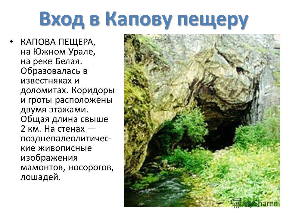 Вход в Капову пещеру КАПОВА ПЕЩЕРА, на Южном Урале, на реке Белая. Образовалась в известняках и доломитах. Коридоры и гроты расположены двумя этажами. Общая длина свыше 2 км. На стенах поздние пареолитические живописные изображения мамонтов, носорого
