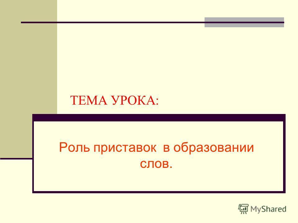 ТЕМА УРОКА: Роль приставок в образовании слов.