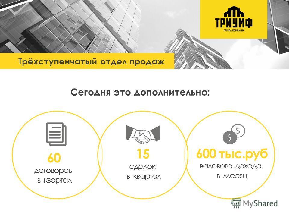 Трёхступенчатый отдел продаж Сегодня это дополнительно: 600 тыс.руб валового дохода в месяц 60 договоров в квартал 15 сделок в квартал