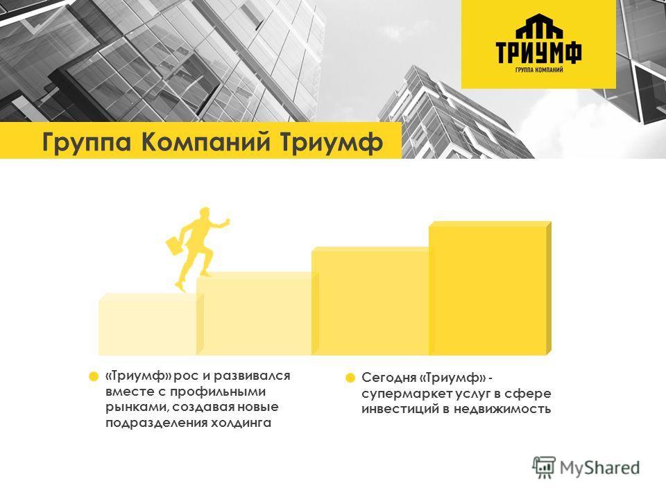 Группа Компаний Триумф «Триумф» рос и развивался вместе с профильными рынками, создавая новые подразделения холдинга Сегодня «Триумф» - супермаркет услуг в сфере инвестиций в недвижимость Группа Компаний Триумф