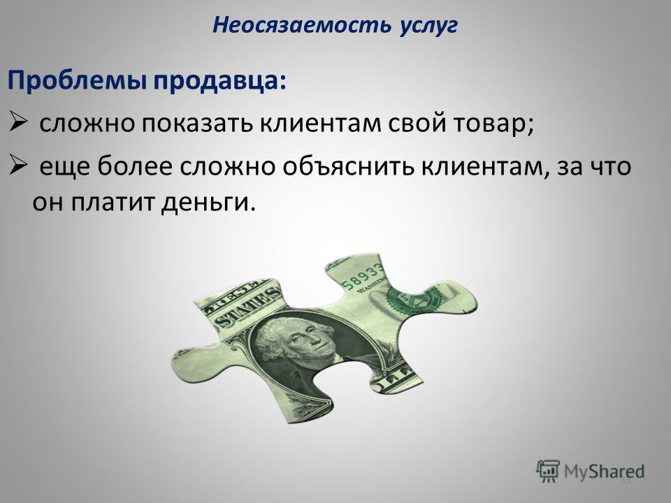 Неосязаемость услуг Проблемы продавца: сложно показать клиентам свой товар; еще более сложно объяснить клиентам, за что он платит деньги. 35
