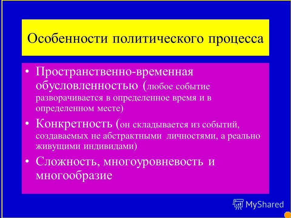 ВНЕШНИЕ ХАРАКТЕРИСТИКИВНУТРЕННИЕ ХАРАКТЕРИСТИКИ ХАРАКТЕРИСТИКА ПОЛИТИЧЕСКОГО ПРОЦЕССА ХАРАКТЕРИСТИКИ временные характеристики (время возникновения и развития политических систем, партий, организаций, движений; степень постоянства или периодичности их