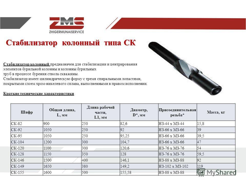 Стабилизатор колонный типа СК Стабилизатор колонный предназначен для стабилизации и центрирования элементов бурильной колонны и колонны бурильных труб в процессе бурения ствола скважины. Стабилизатор имеет цилиндрическую форму с тремя спиральными лоп