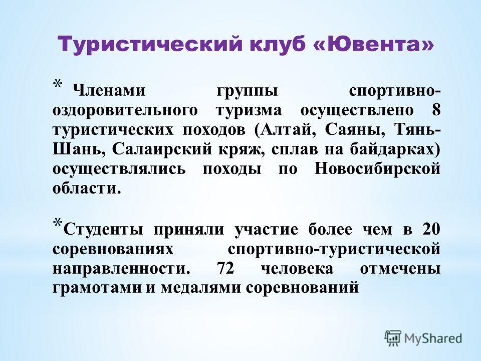 * Членами группы спортивно- оздоровительного туризма осуществлено 8 туристических походов (Алтай, Саяны, Тянь- Шань, Салаирский кряж, сплав на байдарках) осуществлялись походы по Новосибирской области. * Студенты приняли участие более чем в 20 соревн