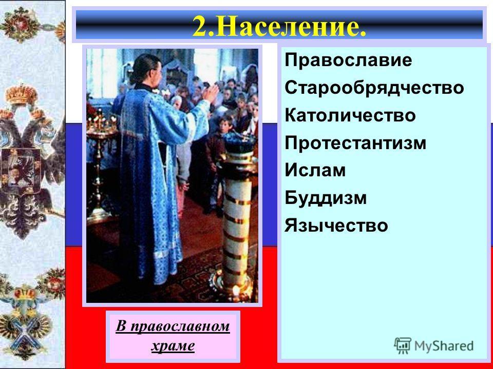 Православие Старообрядчество Католичество Протестантизм Ислам Буддизм Язычество 2.Население. В православном храме
