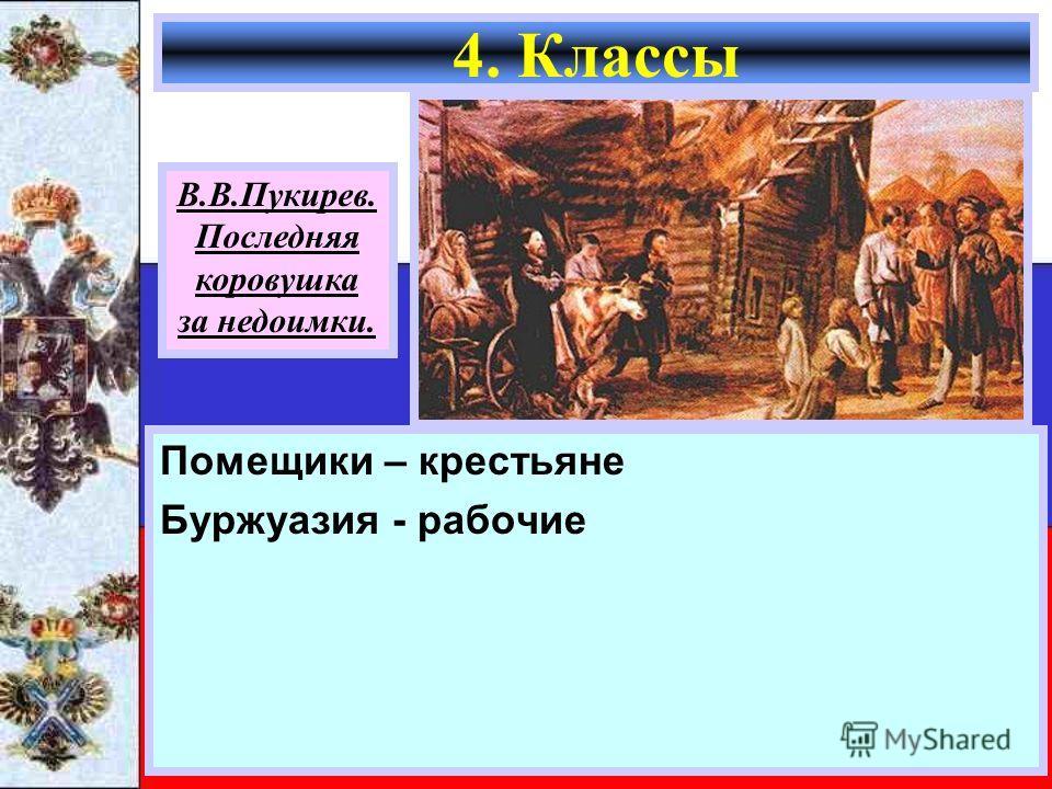 Помещики – крестьяне Буржуазия - рабочие 4. Классы В.В.Пукирев. Последняя коровушка за недоимки.