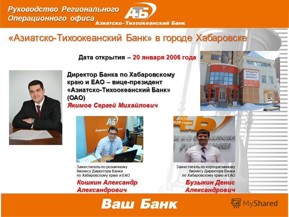 2010 г. *В соответствии со стратегией развития в середине 2010 года произойдет объединение Банков под брендом «Азиатско- Тихоокеанский Банк» «Азиатско-Тихоокеанский Банк» в городе Хабаровске «Азиатско-Тихоокеанский Банк» в городе Хабаровске Дата откр