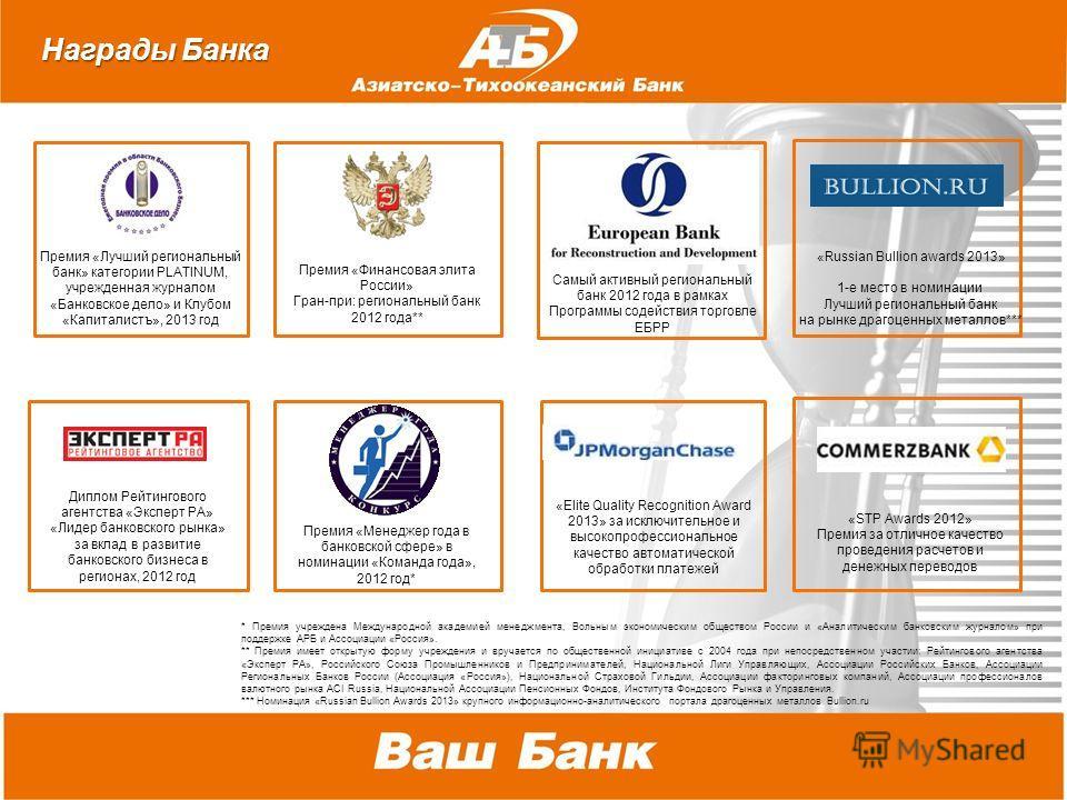 Премия «Финансовммая элита России» Гран-при: региональный банк 2012 года** Премия «Лучший региональный банк» категории PLATINUM, учрежденнммая журналом «Банковское дело» и Клубом «Капиталистъ», 2013 год Премия «Менеджер года в банковской сфере» в ном