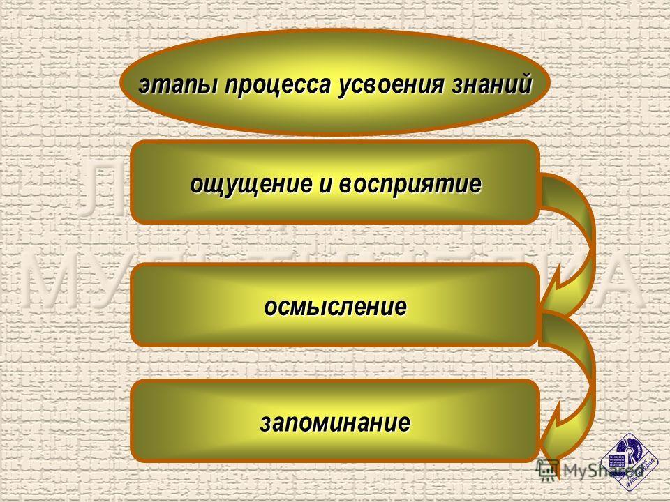 этапы процесса усвоения знаний ощущение и восприятие осмысление запоминание