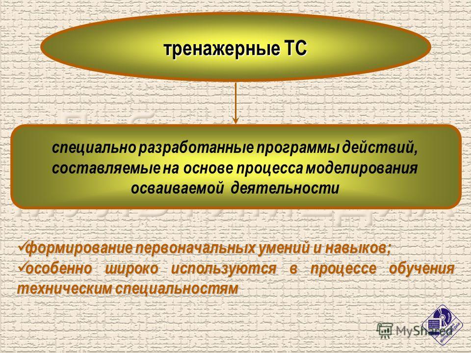 тренажерные ТС специально разработанные программы действий, составляемые на основе процесса моделирования осваиваемой деятельности формирование первоначальных умений и навыков; формирование первоначальных умений и навыков; особенно широко используютс