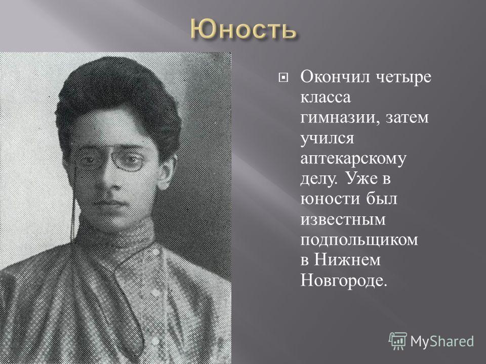 Окончил четыре класса гимназии, затем учился аптекарскому делу. Уже в юности был известным подпольщиком в Нижнем Новгороде.