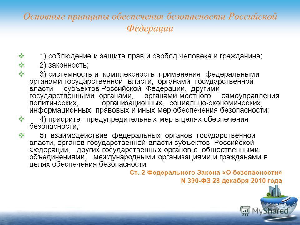 Основные принципы обеспечения безопасности Российской Федерации 1) соблюдение и защита прав и свобод человека и гражданина; 2) законность; 3) системность и комплексность применения федеральными органами государственной власти, органами государственно