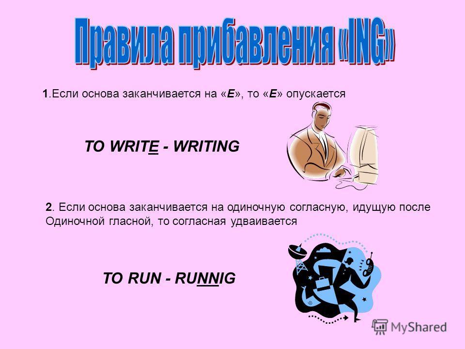 1. Если основа заканчивается на «E», то «E» опускается TO WRITE - WRITING 2. Если основа заканчивается на одиночную согласную, идущую после Одиночной гласной, то согласная удваивается TO RUN - RUNNIG