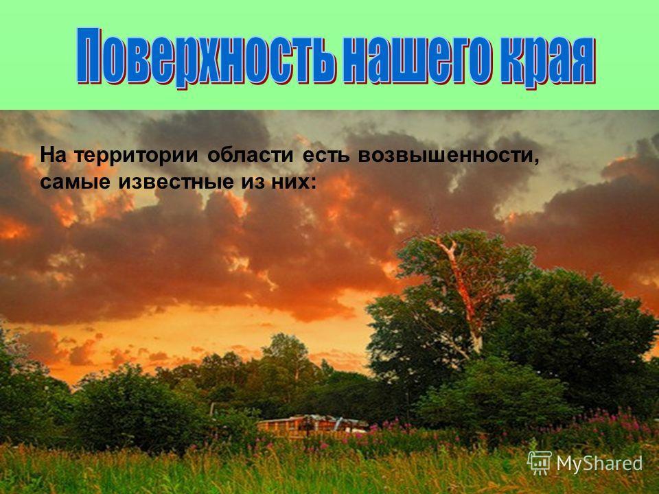 Область расположена на Восточно-Европейской равнине. Поверхность ровная, местами заболоченная. На территории области есть возвышенности, самые известные из них: