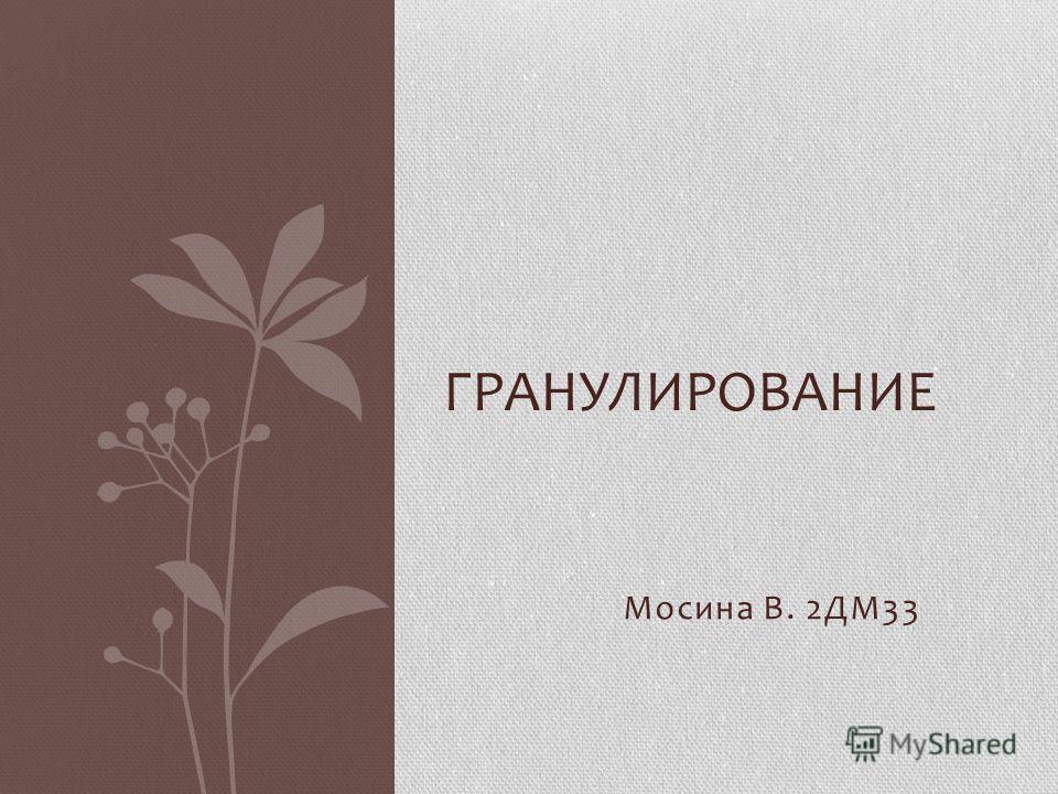 Мосина В. 2ДМ33 ГРАНУЛИРОВАНИЕ