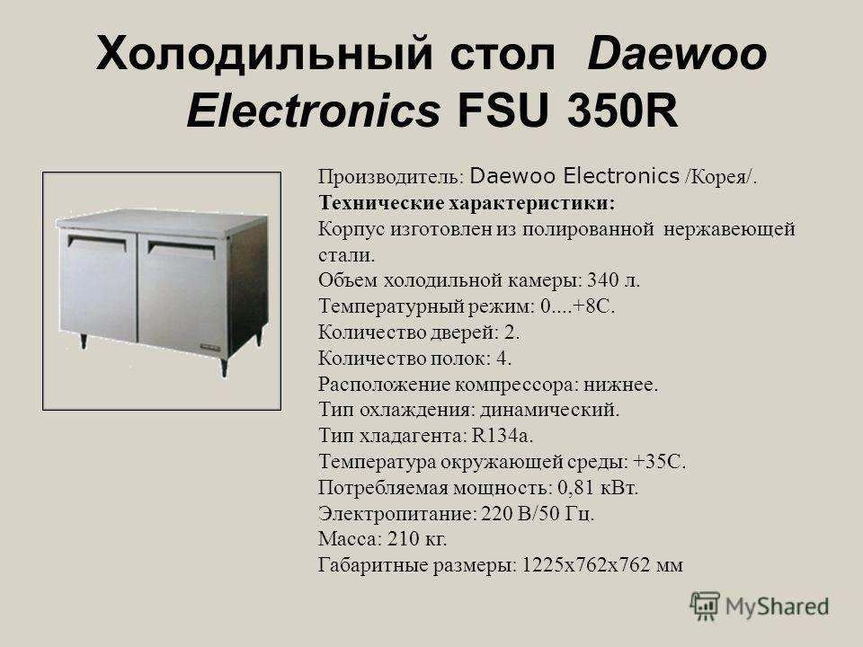 Холодильный стол Daewoo Electronics FSU 350R Производитель: Daewoo Electronics /Корея/. Технические характеристики: Корпус изготовлен из полированной нержавеющей стали. Объем холодильной камеры: 340 л. Температурный режим: 0....+8С. Количество дверей