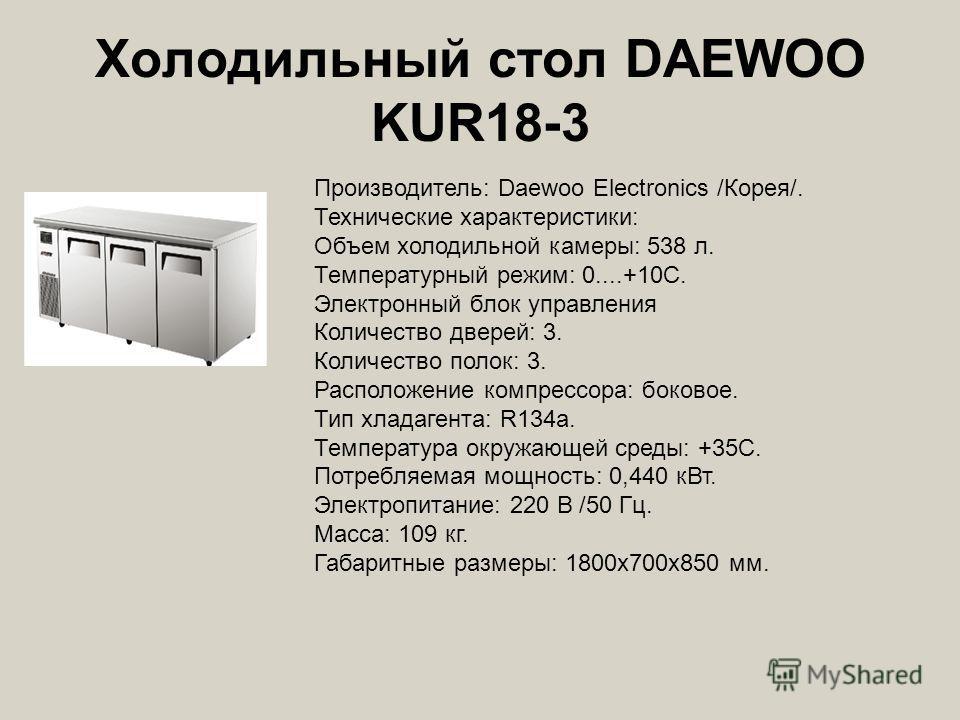 Холодильный стол DAEWOO KUR18-3 Производитель: Daewoo Electronics /Корея/. Технические характеристики: Объем холодильной камеры: 538 л. Температурный режим: 0....+10С. Электронный блок управления Количество дверей: 3. Количество полок: 3. Расположени