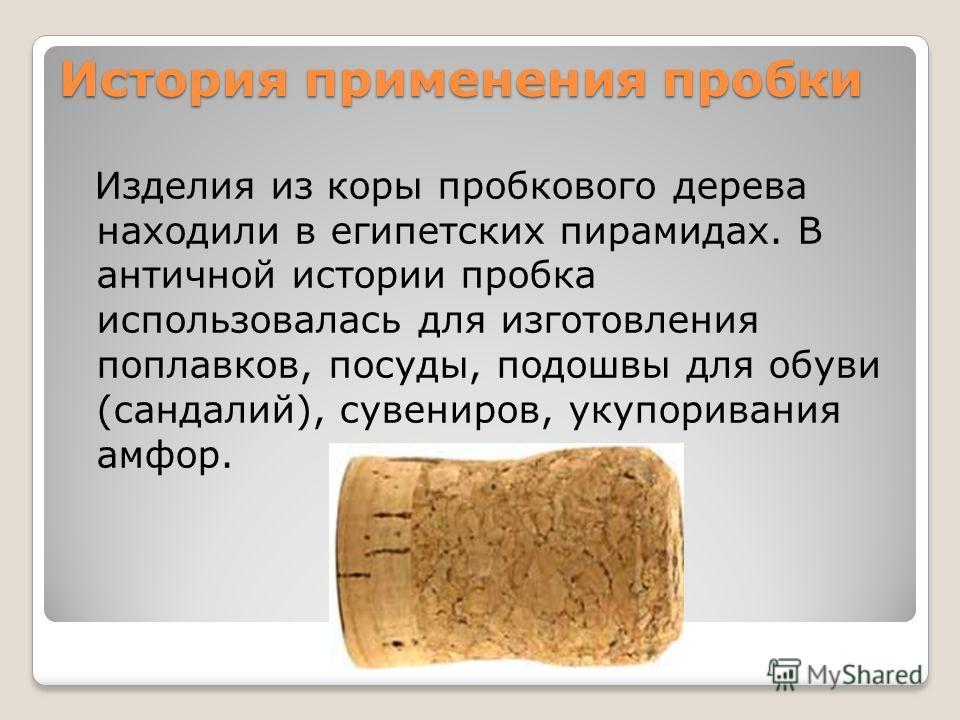 История применения пробки Изделия из коры пробкового дерева находили в египетских пирамидах. В античной истории пробка использовалась для изготовления поплавков, посуды, подошвы для обуви (сандалий), сувениров, укупоривания амфор.