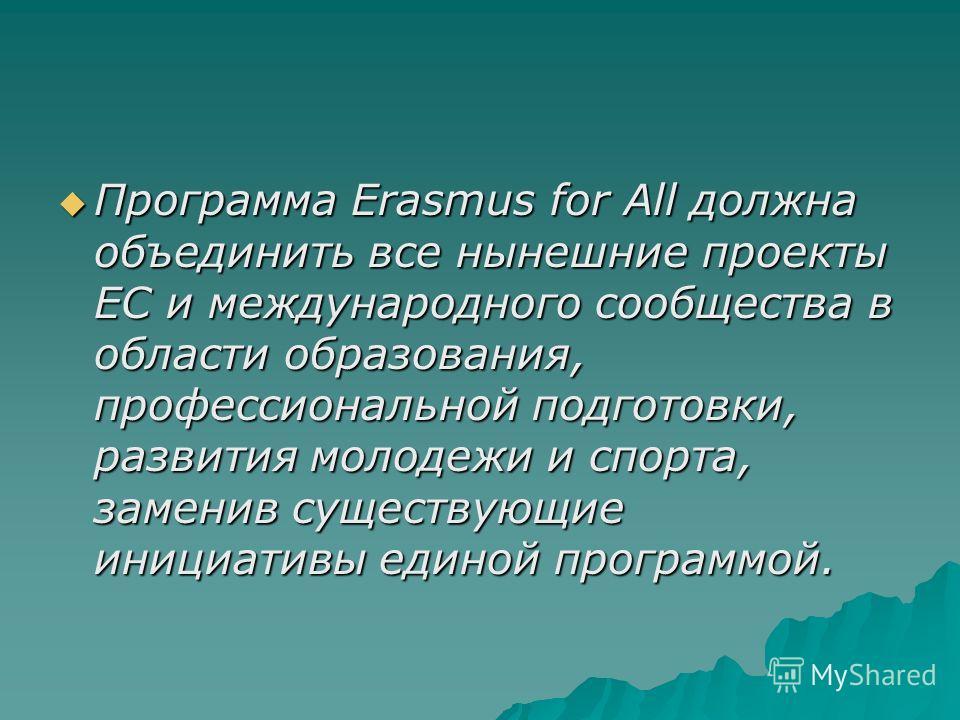 Программа Erasmus for All должна объединить все нынешние проекты ЕС и международного сообщества в области образованиея, профессиональной подготовки, развития молодежи и спорта, заменив существующие инициативы единой программой. Программа Erasmus for