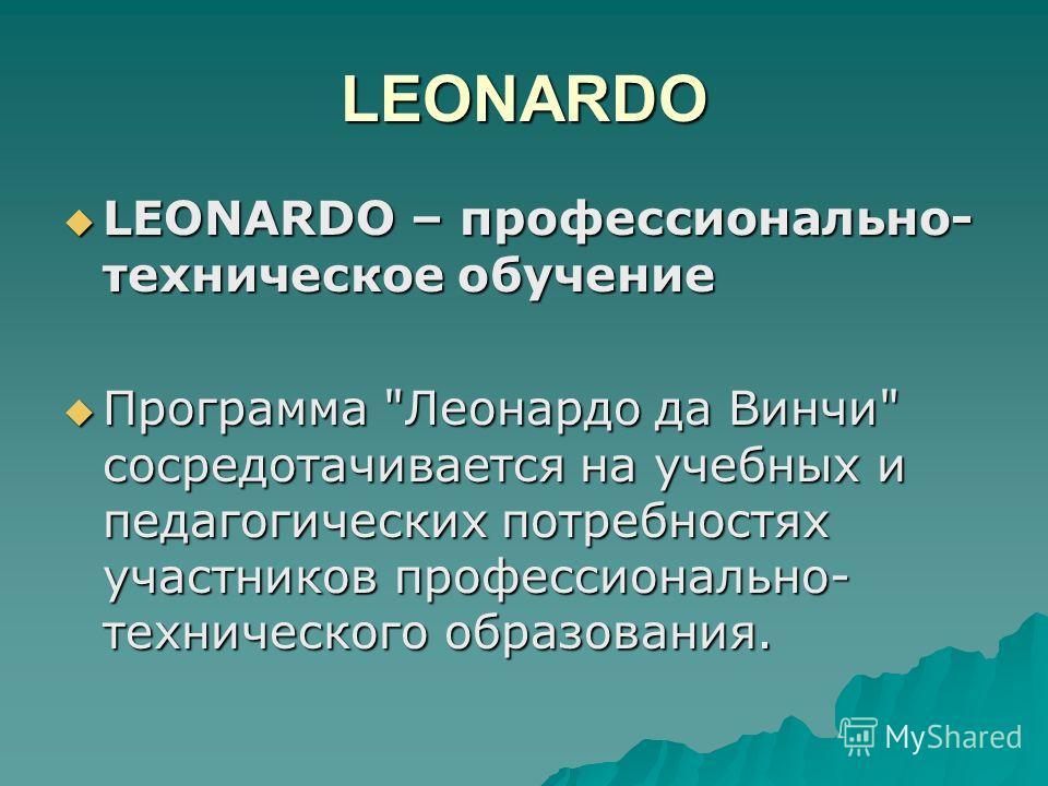 LEONARDO LEONARDO – профессионально- техническое обучение LEONARDO – профессионально- техническое обучение Программа