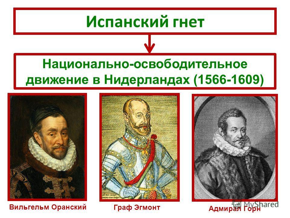 Испанский гнет Национально-освободительное движение в Нидерландах (1566-1609) Вильгельм Оранский Граф Эгмонт Адмирал Горн