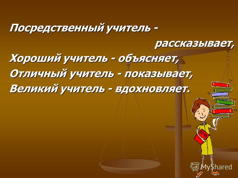 Посредственный учитель - рассказывает, рассказывает, Хороший учитель - объясняет, Отличный учитель - показывает, Великий учитель - вдохновляет.