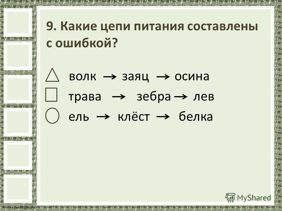 FokinaLida.75@mail.ru 9. Какие цепи питания составлены с ошибкой? волк заяц осина трава зебра лев ель клёст белка